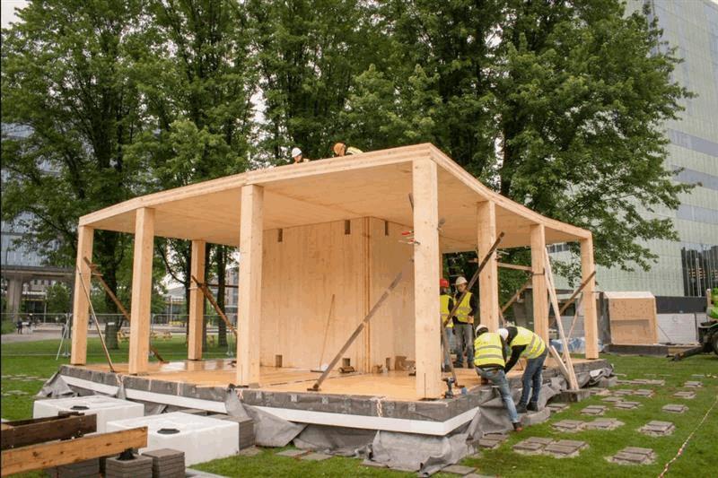 Innovatief en duurzaam woonhuis VIRTUe in opbouw